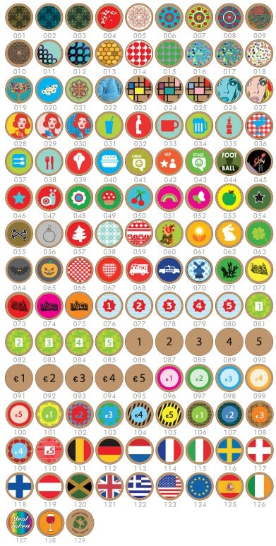 Standard designs that can be printed on Wooden Tokens.
